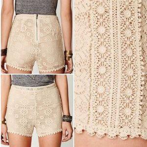 Free People Crochet Knit Boho Lace Shorts